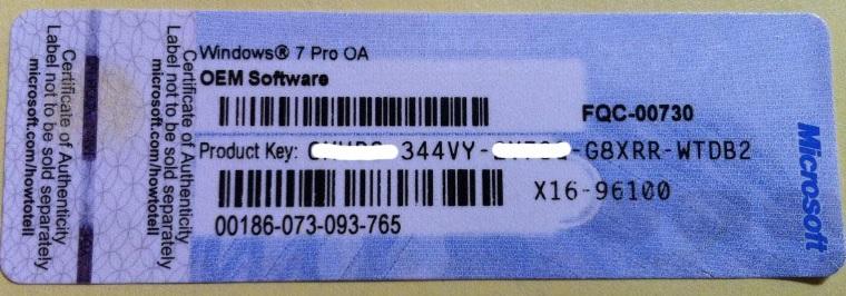 Licenční kod na Microsoft Windows