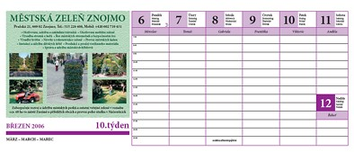 Stolní kalendář - ukázka barevného inzerátu