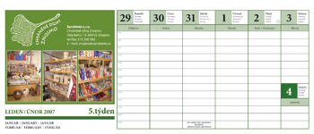 Stolní kalendář - ukázka