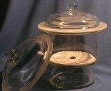 exsikátor 200 mm se skleněným hmatníkem a porcelánovou deskou