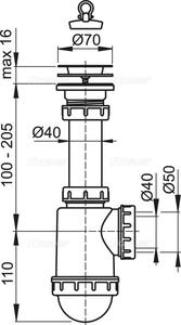 Sifon dřezový s nerezovou mřížkou pr. 70