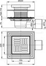 APV3444 Podlahová vpusť 150 × 150/50/75 boční, mřížka nerez, nerezová příruba a límec 2. úrovně izolace, vodní a suchá zápachová uzávěra