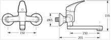Jika TALAS dřezová a umyvadlová nástěnná páková baterie s otočným ramínkem, 150mm chrom