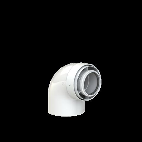 Koaxialní koleno 60/100 - 90st, kondenz PPs/Alu
