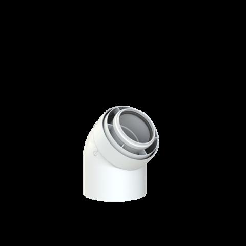 Koaxialní koleno 60/100-45st,  kondenz PPs/Al