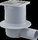 APV1 Podlahová vpusť 105 × 105/50 mm boční, mřížka nerez, vodní zápachová uzávěra