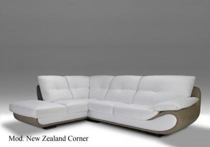 Bílá kožená rohová sedací souprava Zealand