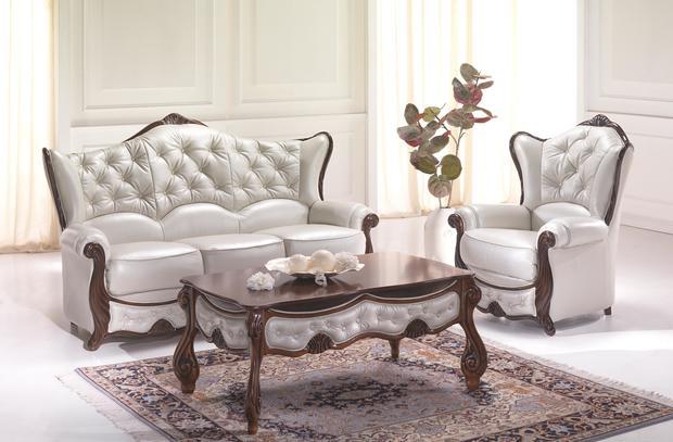 Luxusní sedací souprava Kristýna, bílá kůže