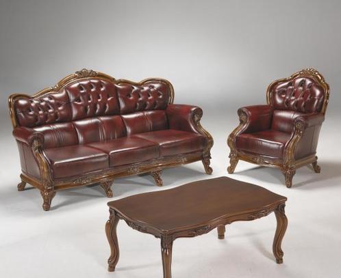 Kožená sedací souprava Napoleon 3+1+1 se dřevem v hnědé kůži