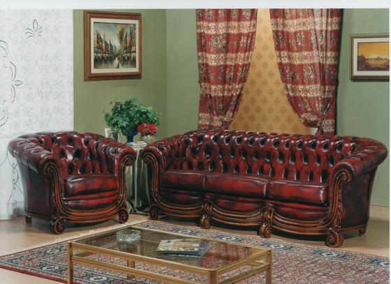 Klasická kožená sedací souprava Chesterfield