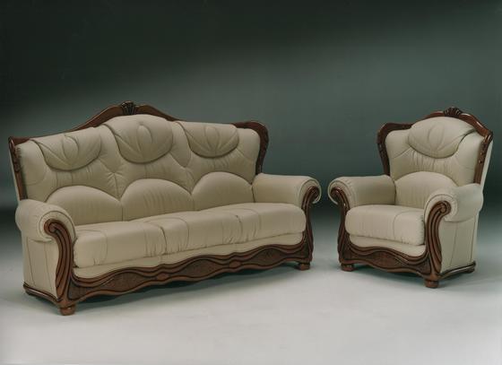 Klasická sedací souprava Brož, béžová kůže