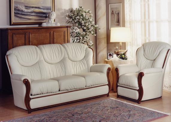 Klasická kožená sedací souprava Desir v béžové kůži