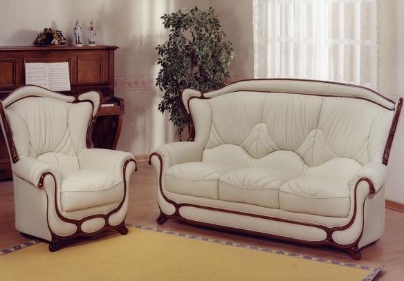 Kožená sedací souprava Feder sestava 3+1+1 tmavé dřevo béžová kůže