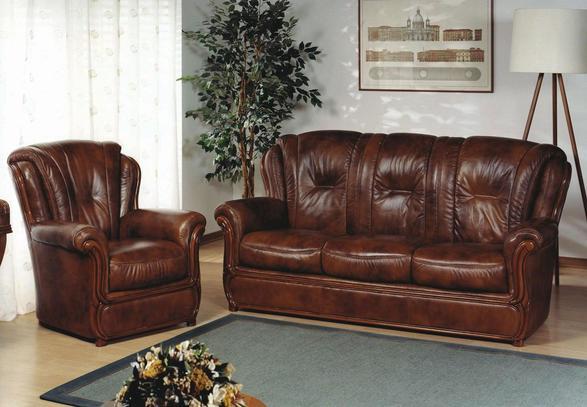 Tmavěhnědá klasická kožená sedací souprava