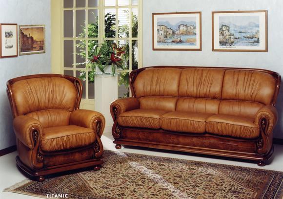 Klasická sedací souprava Titanic, béžově hnědá kůže