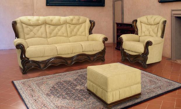 Rustikální sedací souprava Valentino, béžová kůže