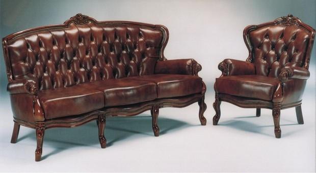 Rustikální sedací souprava Filip, hnědá kůže, masivní dřevěný rám