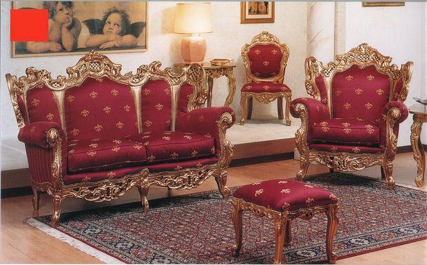 Zámecká sedací souprava Lord, látkové provedení, zlaté zdobení dřeva