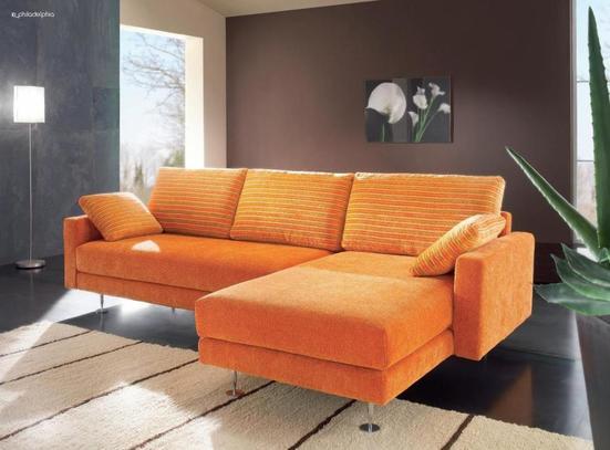 Moderní oranžová rohová sedací souprava Philadelphia C4