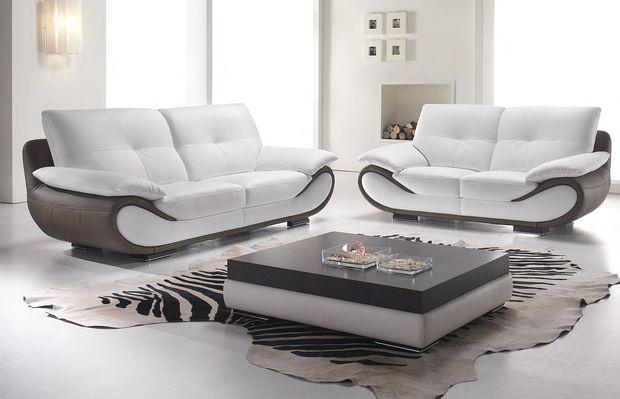 Luxusní kožená sedací souprava New Zealand v bílé a hnědé kůži