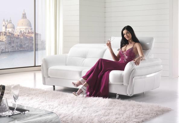 Luxusní kožená sedací souprava Folk, bílá kůže
