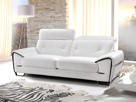 Pohodlná a moderní kožená sedací souprava Zoom v bílé kůži
