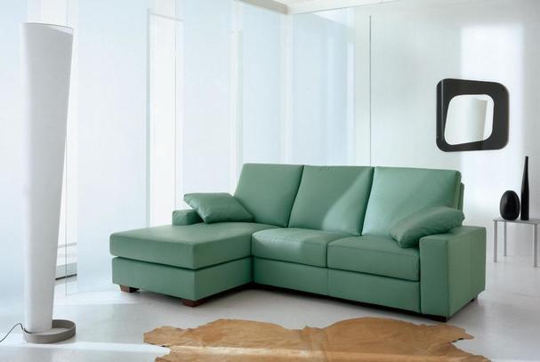 Zelená rohová sedací souprava kožená