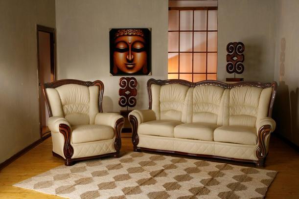 Rustikální kožená sedací souprava v béžové barvě