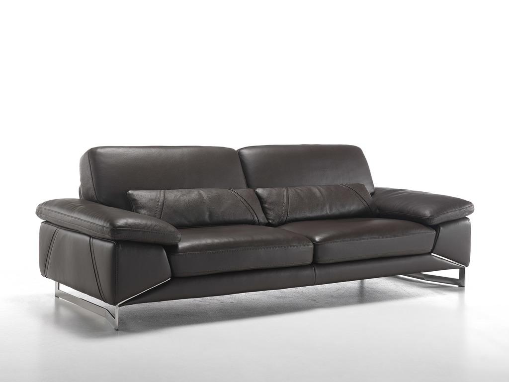 Luxusní nízká sedací souprava z hnědé kůže