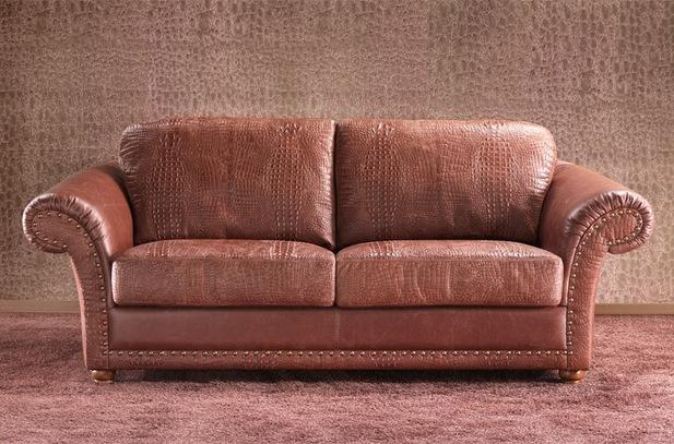 Světlehnědá tradiční kožená sedací souprava