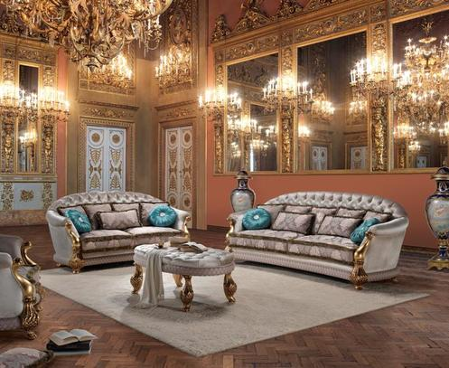 Sedací souprava se zlatým dřevem do luxusních salonu