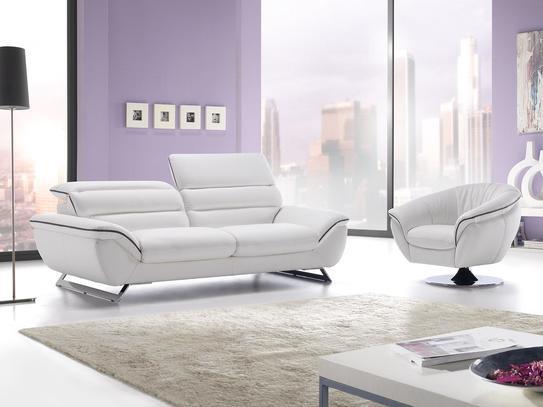 bílá kožená sedací souprava v moderním provedení