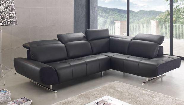 Moderní sedací souprava Domino, černá kůže