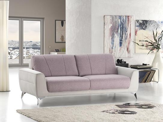 Moderní kožená sedací souprava Alano v bílo-růžové kombinaci