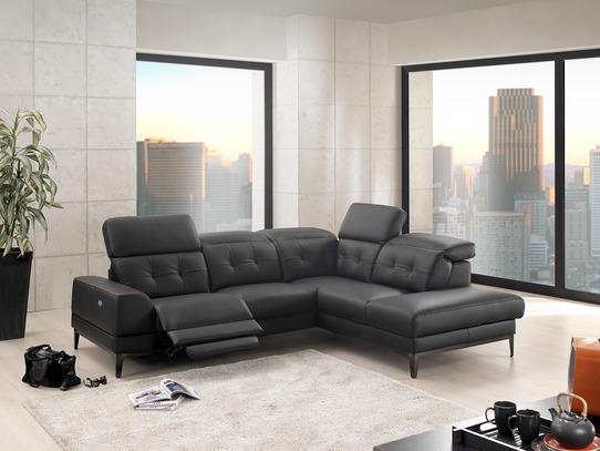 Moderní rohová kožená sedací souprava Ritzi v černé kůži