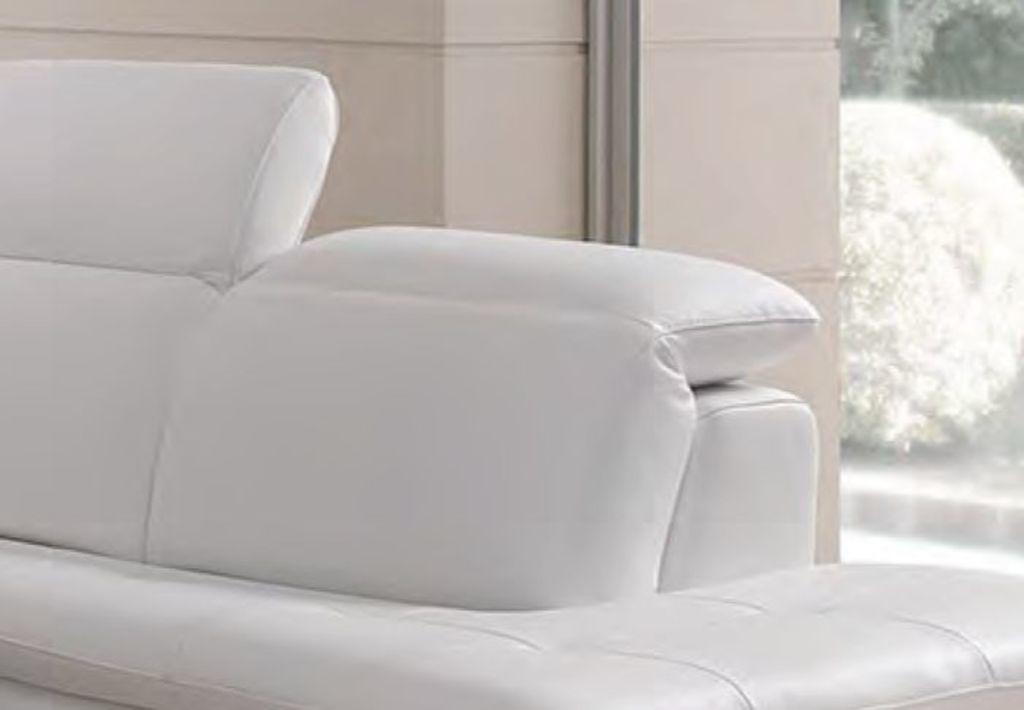 Bílá kožená rohová sedací souprava Hop