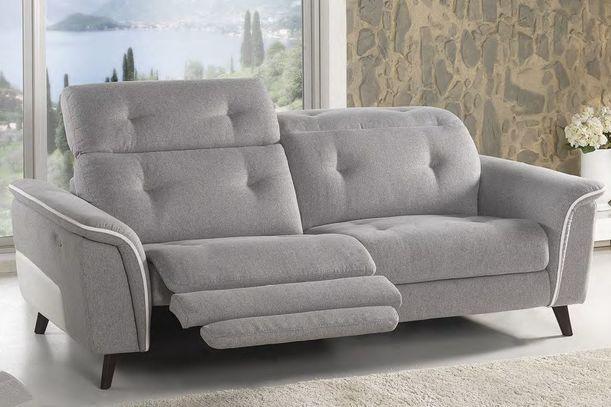 Luxusní sedací souprava Mada v šedé a bílé kombinaci látky