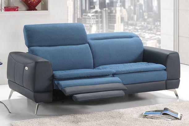 Kombinovaná kožená sedací souprava Yes v modro-tmavé kombinaci