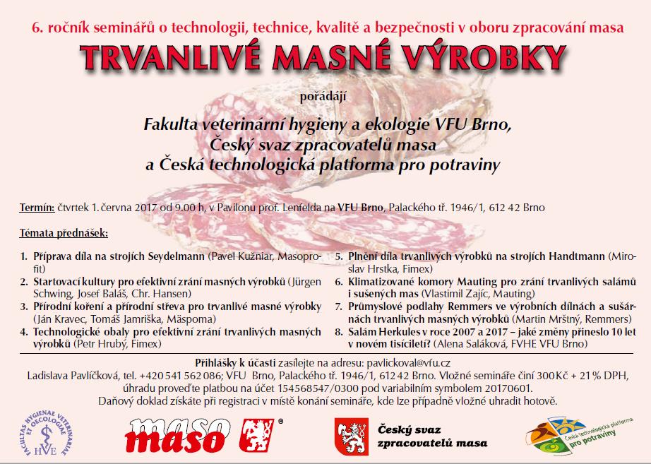 Pozvánka na seminář o trvanlivých masných výrobcích