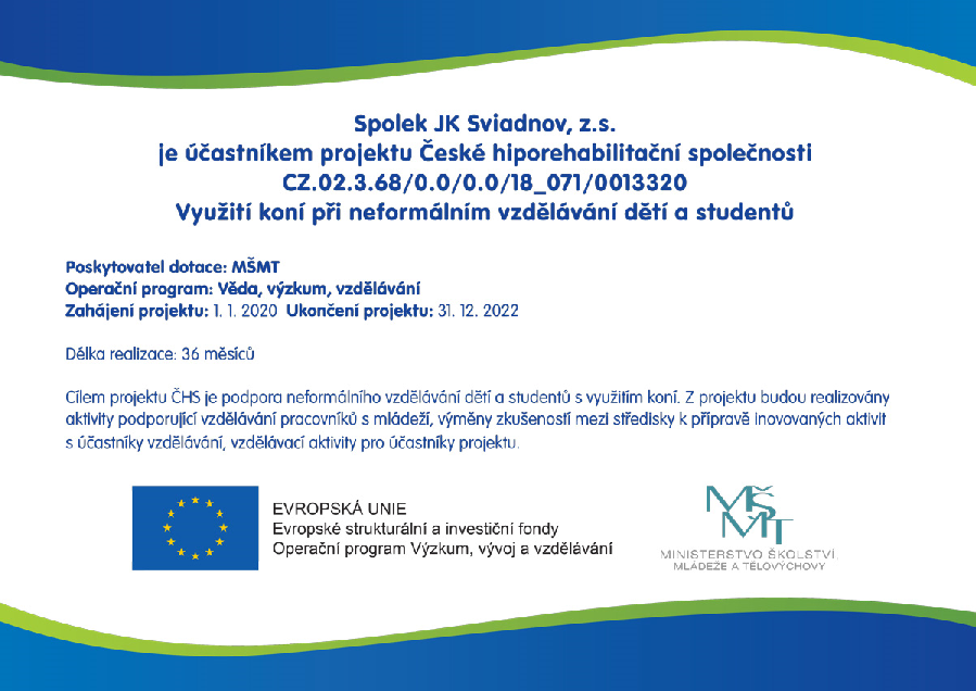 Jsme součástí projektu České hiporehabilitační společnosti, který dává smysl ...